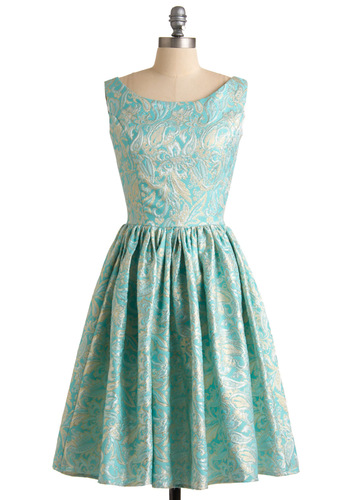 Go for Brocade Dress - Blue, Tan / Cream, Floral, Embroidery, A-line, Sleeveless, Long, Gold, Formal, Wedding, Vintage Inspired