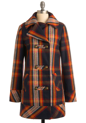 The Perfect Piccadilly Coat by Tulle Clothing - Multi, Red, Orange, Yellow, Blue, Plaid, Buttons, Casual, Long Sleeve, Fall, Winter, Pockets, 3, Long