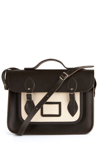 "Cambridge Satchel Company Bag in Brown & Tan - 14"" by The Cambridge Satchel Company  - Brown, Cream, Solid, Buckles, Work, Casual, International Designer"