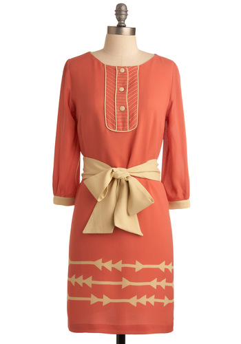 Lauren Moffatt Fondue Fete Dress by Lauren Moffatt - Orange, Bows, Sheath / Shift, Tan / Cream, Print, Buttons, Casual, Long Sleeve, Spring, Fall, Mid-length