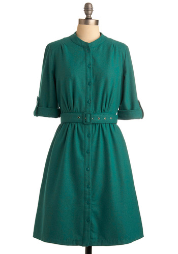 Be Hue to Your School Dress - Green, Solid, 3/4 Sleeve, Work, Casual, Shirt Dress, Fall, Party, Vintage Inspired, Mid-length