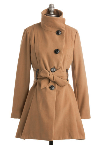 Penthouse, Please Coat by Steve Madden - Tan, Solid, Buttons, Long Sleeve, Work, Fall, Winter, Long, 3