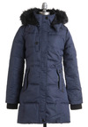 One Puff Cookie Coat - Blue, Solid, Long Sleeve, Casual, Winter, Long, 4.5