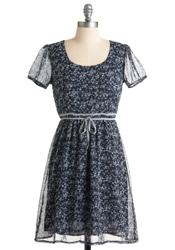 Floral Flurry Dress - Blue, Floral, A-line, Short Sleeves, Grey, Bows, Casual, Spring, Fall, Mid-length
