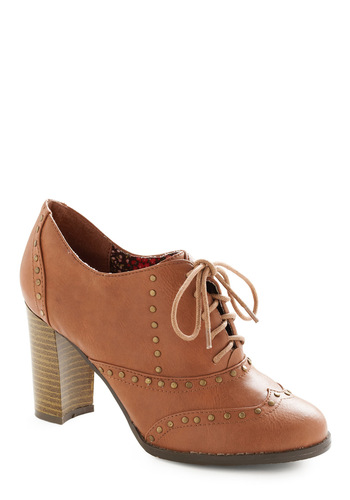 Riveted Attention Heel - Tan, Solid, Studs, Gold, Work, Fall, Menswear Inspired