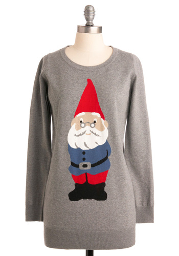 You Oughta Gnome Sweater - Grey, Red, Blue, Black, White, Print, Knitted, Casual, Long Sleeve, Fall, Winter, Long, International Designer