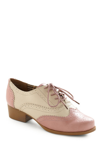 Bubble Gum Glamour Shoe - Pink, Cream, Solid, Casual, Vintage Inspired, Spring, Fall, 20s, 30s, 40s