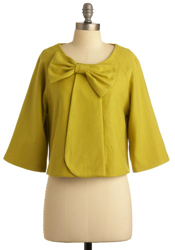 Lemongrass Is Always Greener Jacket - Yellow, Green, Solid, Bows, 3/4 Sleeve, Spring, Fall, 1.5, Short