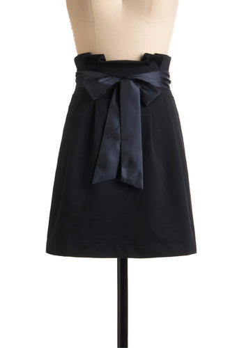Yes No or Navy Skirt - Blue, Solid, Bows, Pleats, Work, Casual, A-line, Fall, Winter, Mid-length