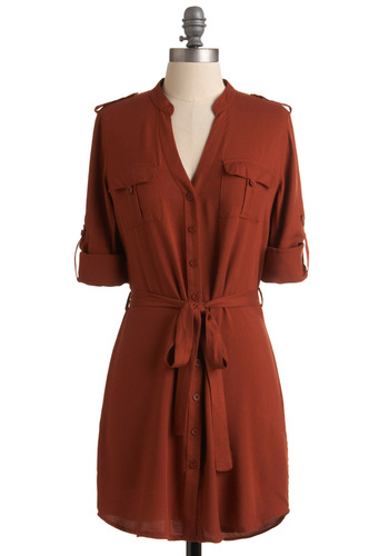 Oriole Fashioned Flattery Dress - 3/4 Sleeve, Orange, Solid, Buttons, Epaulets, Pockets, Casual, Shirt Dress, Fall, Short