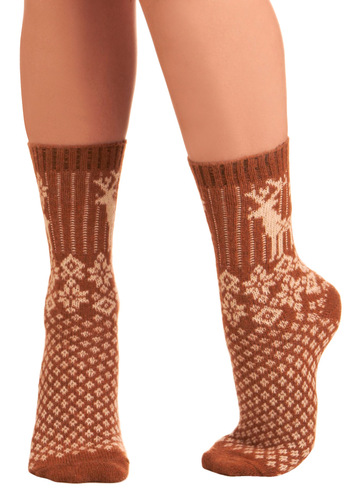 Dashing Dasher Socks - Brown, Tan / Cream, Print, Knitted, Print with Animals, Fall, Winter