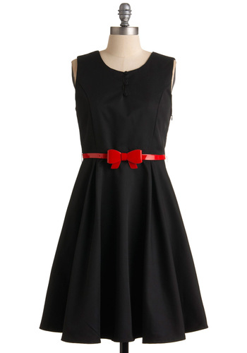 A Dab of Fab Dress - Black, Red, A-line, Sleeveless, Solid, Bows, Buttons, Party, Mid-length