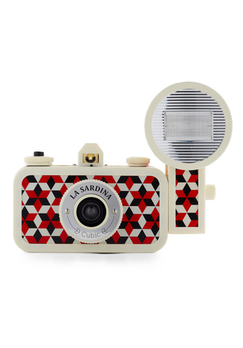 La Sardina Lomography Camera in Cubic - Red, Black, White, Print, Nautical