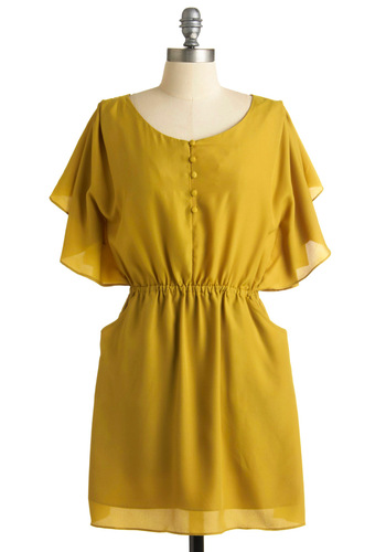 Fall Day Outdoors Dress - Yellow, Solid, Casual, A-line, Short Sleeves, Spring, Fall, Mid-length