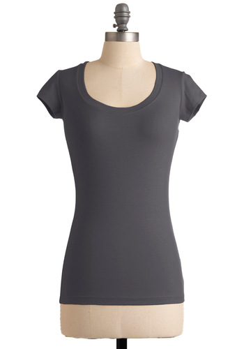 What's the Scoop Neck Top in Grey - Grey, Solid, Casual, Cap Sleeves, Mid-length, Scoop
