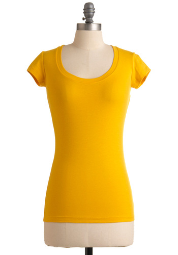 What's the Scoop Neck Top in Gold - Yellow, Solid, Casual, Cap Sleeves, Mid-length