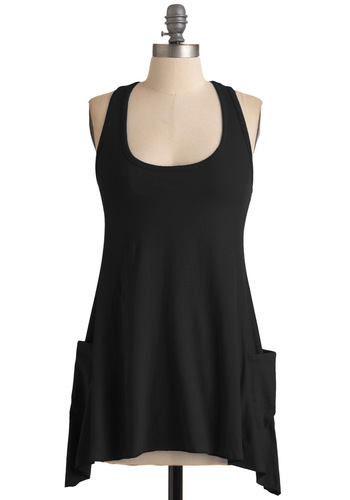 Trapeze-y Going Tank in Black - Black, Solid, Pockets, Casual, Racerback, Summer, Long