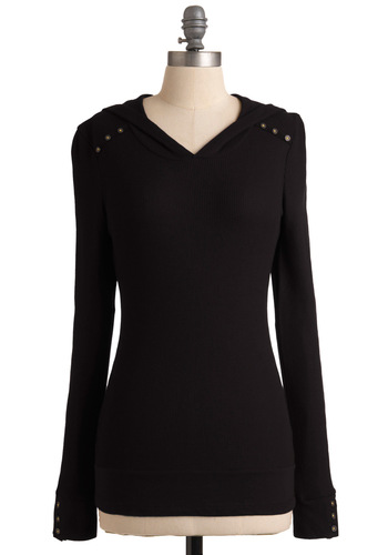 Street Style Starlet Top in Black - Black, Solid, Casual, Long Sleeve, Hoodie, Mid-length, Jersey, V Neck