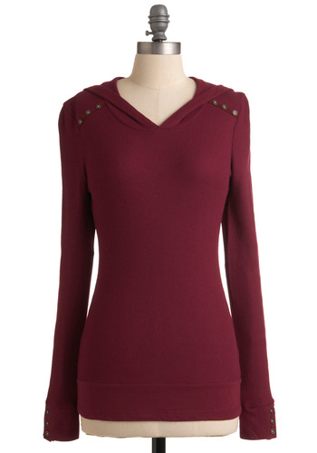 Street Style Starlet Top in Cranberry - Red, Solid, Long Sleeve, Casual, Hoodie, Mid-length