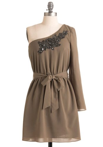 Evening at the Arboretum Dress - Tan, Black, Solid, Embroidery, Sequins, Special Occasion, Wedding, Shift, Long Sleeve, One Shoulder, Fall, Short