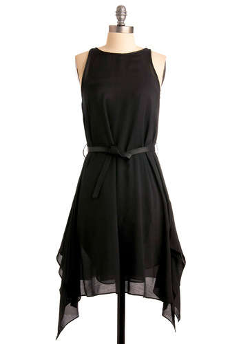 Dusk Dancer Dress - Black, Solid, A-line, Sleeveless, Handkerchief, Party, Mid-length