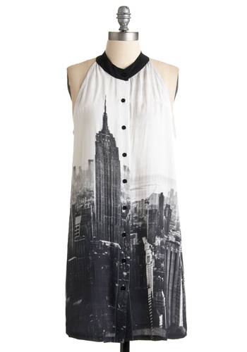 Stunner in the City Dress by Motel - Black, Grey, Print, Backless, Buttons, Casual, Sack, Halter, White, Short, International Designer