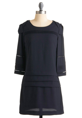 Com-pleated Project Dress - Solid, Pleats, 3/4 Sleeve, Work, Casual, Sheath / Shift, Fall, Blue, Short