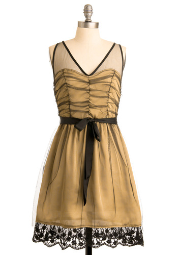 Golden Gumption Dress - Gold, Black, A-line, Sleeveless, Solid, Bows, Lace, Scallops, Wedding, Party, Fall, Mid-length
