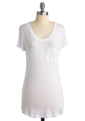 Crushed Cookies Top in Vanilla - White, Solid, Pockets, Short Sleeves, Casual, Spring, Summer, Long, White, Short Sleeve