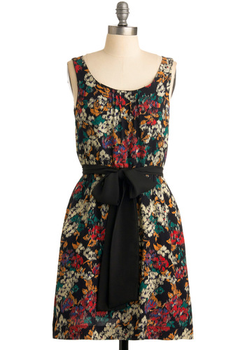 That's So Fresh Dress - Floral, Bows, Sheath / Shift, Sleeveless, Multi, Pleats, Casual, Summer, Fall, Black, Mid-length, Belted