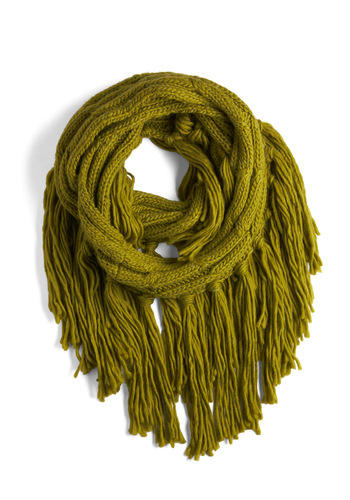Throw On and Go Scarf - Green, Solid, Fringed, Knitted, Tassels, Fall, Winter