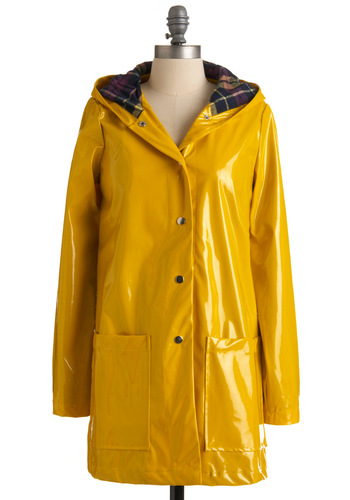 Pretty Slicker Rain Coat - Yellow, Solid, Long Sleeve, Casual, Spring, 2, International Designer, Long