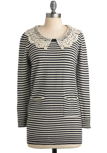 Carrying  a Tunic - Black, Stripes, Lace, Pockets, Long Sleeve, Casual, Fall, Long, White