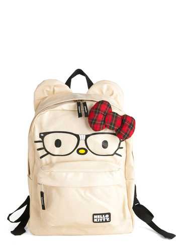 Cat's Out of the Backpack - Red, Black, Print with Animals, Cream, Bows, Kawaii