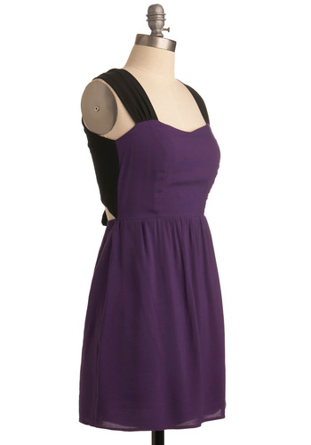 Amethyst and That Dress - Purple, Black, Solid, A-line, Sleeveless, Tank top (2 thick straps), Backless, Bows, Casual, Summer, Mid-length