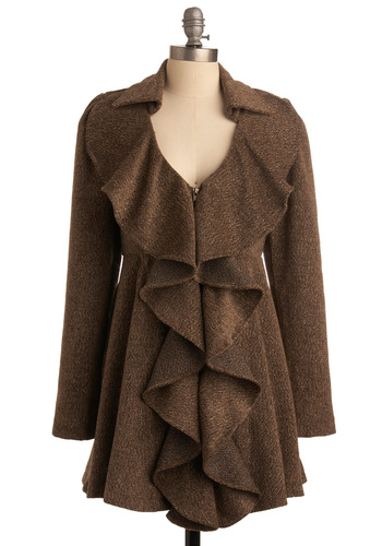 Gracing Pavements Coat by Ryu - Brown, Solid, Ruffles, Long Sleeve, Fall, Winter, Long, 2.5