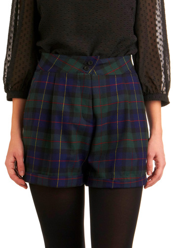 The Missing Links Shorts by Motel - Green, Blue, Red, Yellow, Black, Plaid, Pleats, Casual, Fall, Winter, Mid-length