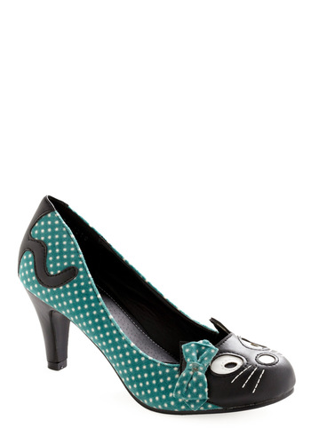 Whisker Sweet Nothings Heel - White, Polka Dots, Bows, Green, Black, Print with Animals, Rockabilly