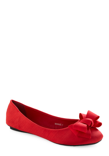 Dance the Night Away Flat - Red, Solid, Bows, Casual, Fall, Winter