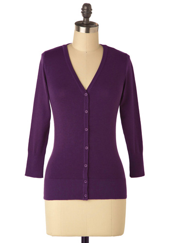 Charter School Cardigan in Violet - Purple, Buttons, Work, Casual, 3/4 Sleeve, Fall, Mid-length