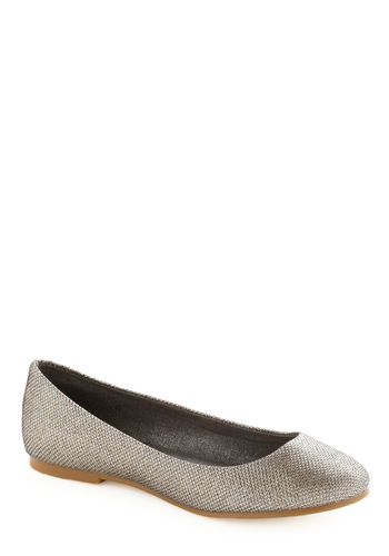 A Night to Remember Flat in Silver by BC Footwear - Silver, Solid, Party, Casual, Spring, Fall
