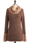 Cut and Pastry Sweater - Brown, Knitted, Long Sleeve, Tan / Cream, Solid, Casual, Fall, Winter, Mid-length