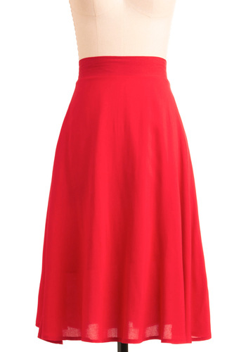 Sway Cool Skirt - Red, Solid, A-line, Summer, Fall, Long