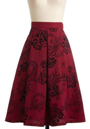 Swing in Your Step Skirt - Red, Black, Floral, A-line, Party, Vintage Inspired, High Waist, Fit & Flare, 50s, Pinup, Long