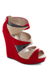 Your Point Being? Wedge - Red, Pink, Tan / Cream, Black, Party, Wedge