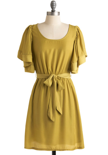 Here, Pear, and Everywhere Dress - Yellow, Solid, A-line, Short Sleeves, Party, Mid-length, Belted, Sheer