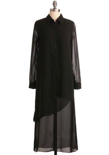 Professional Makeup Artist Dress - Black, Solid, Long Sleeve, Tiered, Casual, Sack, Fall, Winter, Long, Shirt Dress