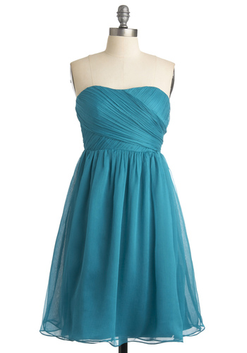 Dream Date Dress - Blue, Solid, Empire, Strapless, Wedding, Party, Spring, Summer, Fall, Mid-length, Show On Featured Sale, Formal, Prom