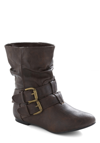 Spruce Up Your Style Boot in Espresso - Brown, Solid, Buckles, Casual, Fall, Winter, Faux Leather, Flat, Best Seller, Good, Vintage Reserve