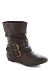 Spruce Up Your Style Boot in Espresso - Brown, Solid, Buckles, Casual, Fall, Winter, Faux Leather, Flat